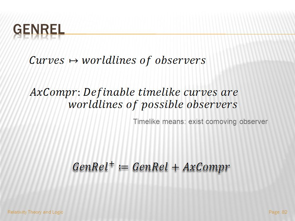  How to use GenRel.