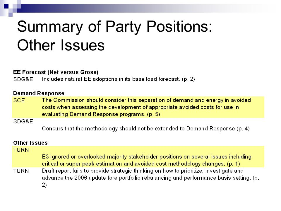 Summary of Party Positions: Other Issues