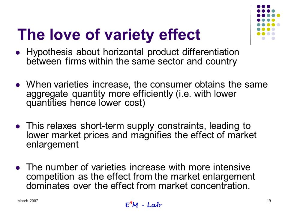 March 200719 The love of variety effect Hypothesis about horizontal product differentiation between firms within the same sector and country When vari