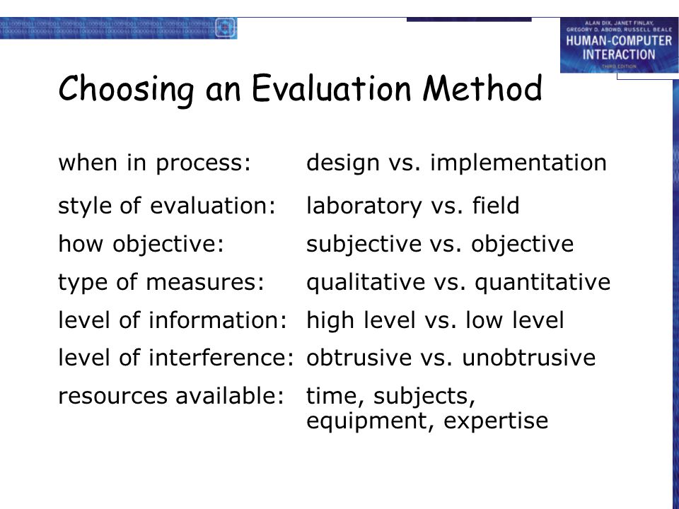 Choosing an Evaluation Method when in process:design vs. implementation style of evaluation:laboratory vs. field how objective:subjective vs. objectiv