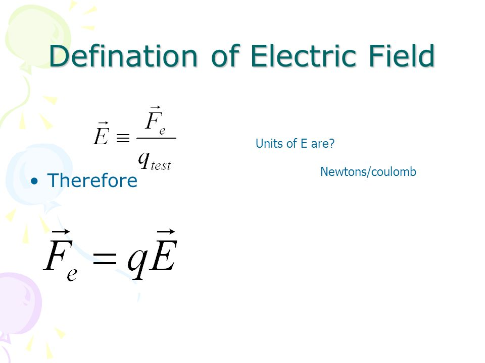 Defination of Electric Field Therefore Units of E are Newtons/coulomb