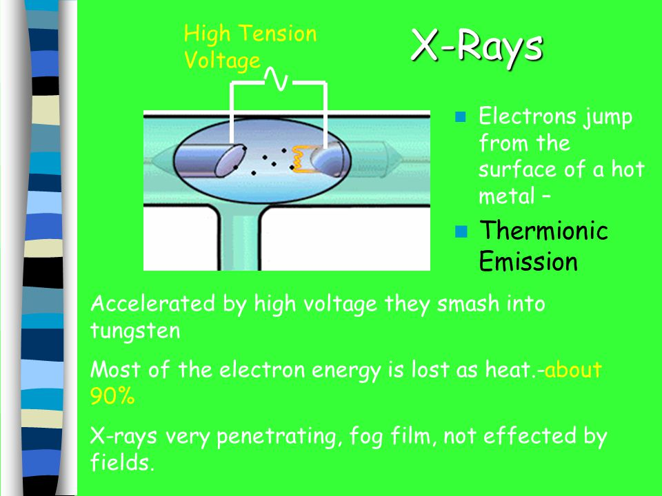 X-Rays Electrons jump from the surface of a hot metal – Thermionic Emission Accelerated by high voltage they smash into tungsten Most of the electron energy is lost as heat.-about 90% X-rays very penetrating, fog film, not effected by fields.