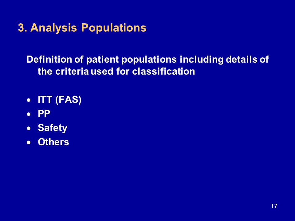3. Analysis Populations Definition of patient populations including details of the criteria used for classification  ITT (FAS)  PP  Safety  Others