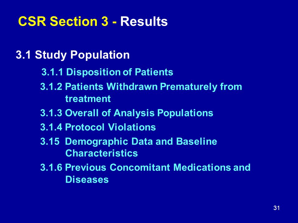 CSR Section 3 - Results 3.1 Study Population 3.1.1 Disposition of Patients 3.1.2 Patients Withdrawn Prematurely from treatment 3.1.3 Overall of Analys