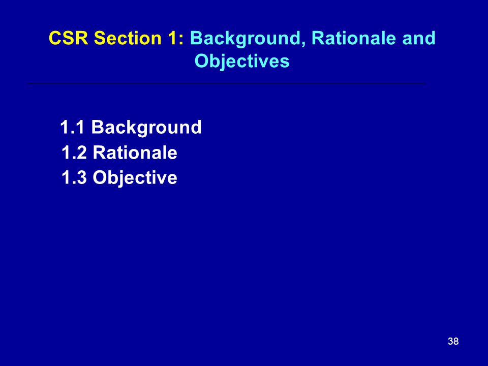 CSR Section 1: Background, Rationale and Objectives 1.1 Background 1.2 Rationale 1.3 Objective 38