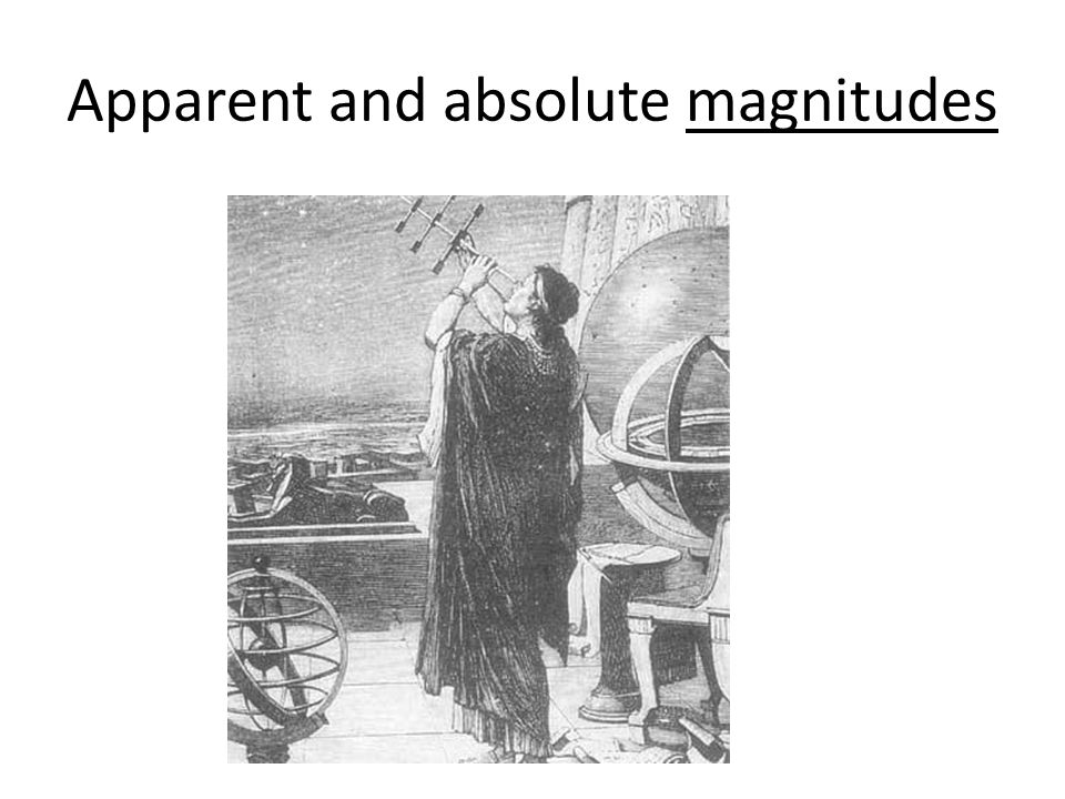 Apparent and absolute magnitudes