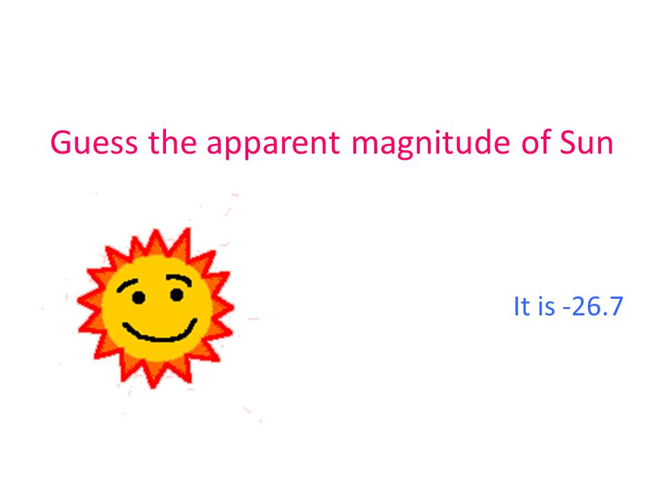 Guess the apparent magnitude of Sun It is -26.7