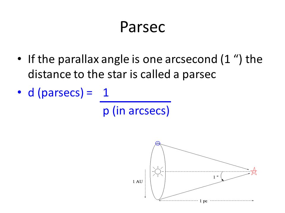 Parsec If the parallax angle is one arcsecond (1 ) the distance to the star is called a parsec d (parsecs) = 1 p (in arcsecs)