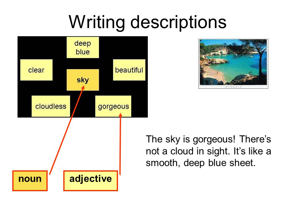 Writing descriptions The sky is gorgeous! There's not a cloud in sight. It's like a smooth, deep blue sheet. noun adjective