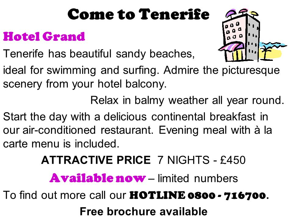 Come to Tenerife Hotel Grand Tenerife has beautiful sandy beaches, ideal for swimming and surfing. Admire the picturesque scenery from your hotel balc