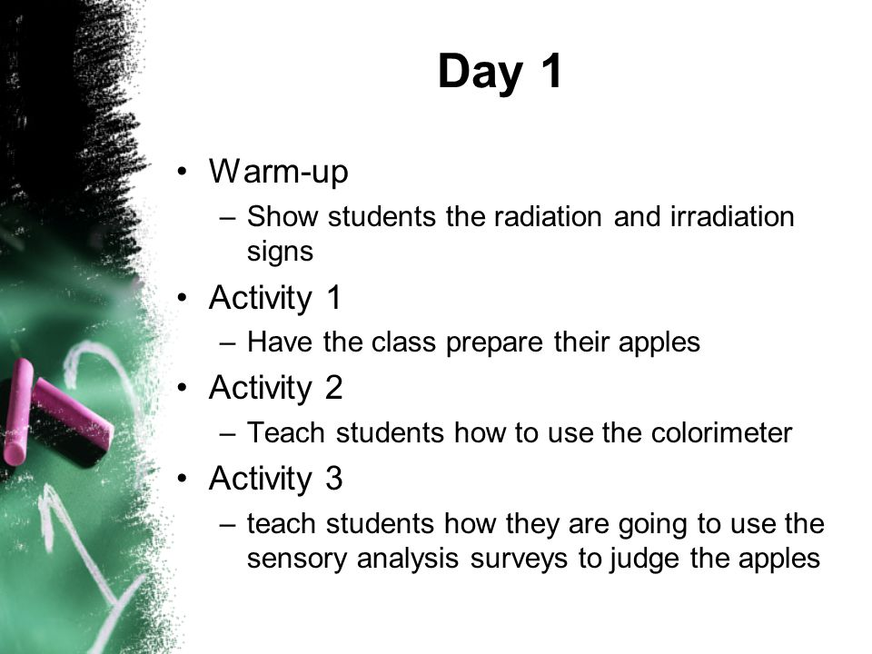 Day 1 Warm-up –Show students the radiation and irradiation signs Activity 1 –Have the class prepare their apples Activity 2 –Teach students how to use the colorimeter Activity 3 –teach students how they are going to use the sensory analysis surveys to judge the apples