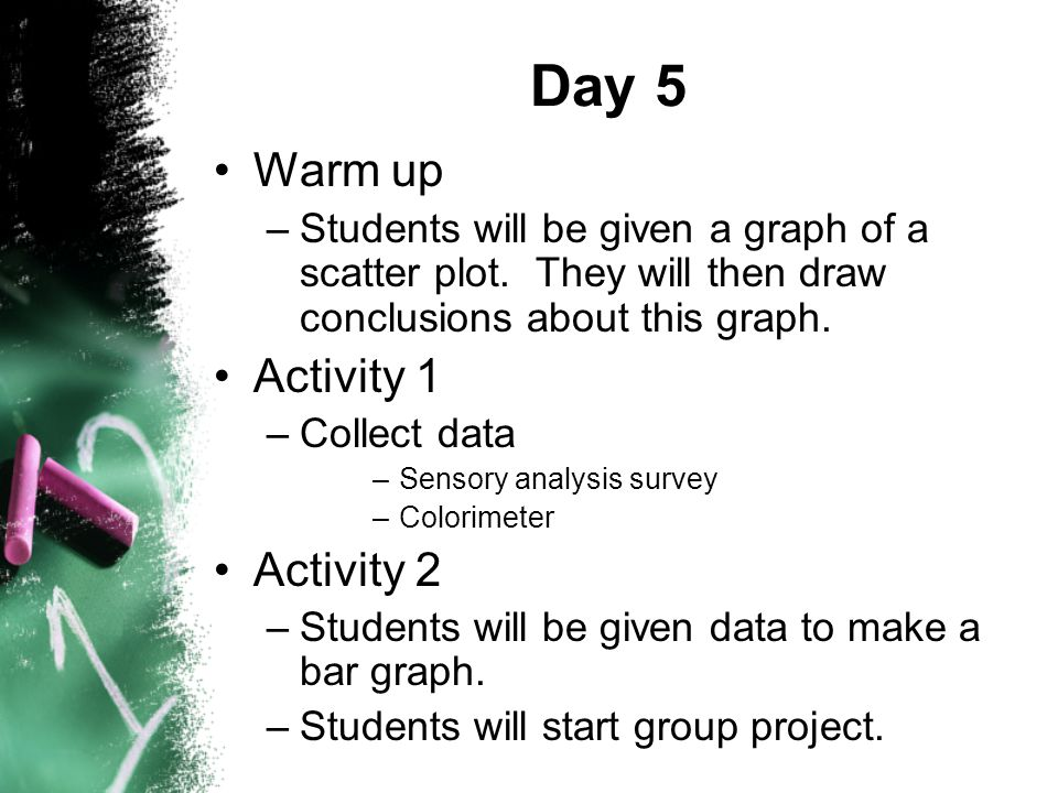 Day 5 Warm up –Students will be given a graph of a scatter plot.