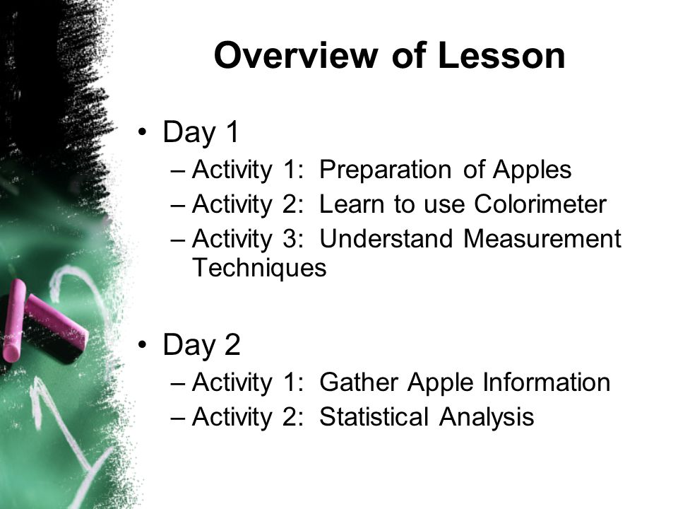 Overview of Lesson Day 1 –Activity 1: Preparation of Apples –Activity 2: Learn to use Colorimeter –Activity 3: Understand Measurement Techniques Day 2 –Activity 1: Gather Apple Information –Activity 2: Statistical Analysis