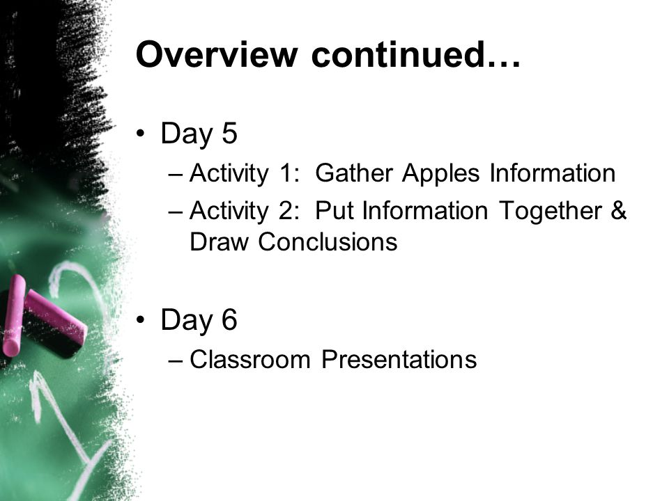 Overview continued… Day 5 –Activity 1: Gather Apples Information –Activity 2: Put Information Together & Draw Conclusions Day 6 –Classroom Presentations