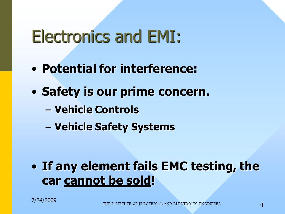 7/24/2009 THE INSTITUTE OF ELECTRICAL AND ELECTRONIC ENGINEERS 4 Electronics and EMI: Potential for interference:Potential for interference: Safety is our prime concern.Safety is our prime concern.