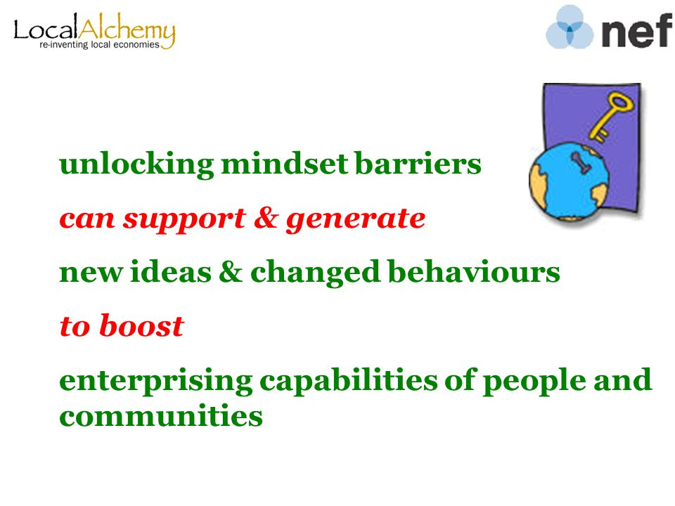 unlocking mindset barriers can support & generate new ideas & changed behaviours to boost enterprising capabilities of people and communities