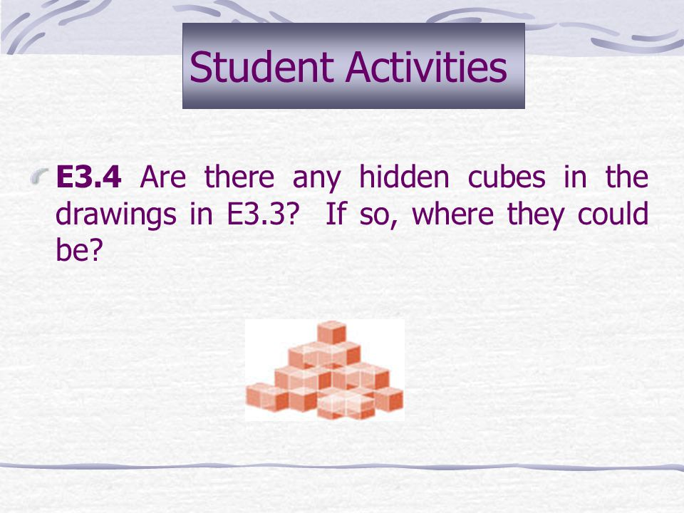 E3.3 Construct with cubes each shape shown to you on the copy provided by the teacher. These shapes are drawn from the front-left view. Make your isom