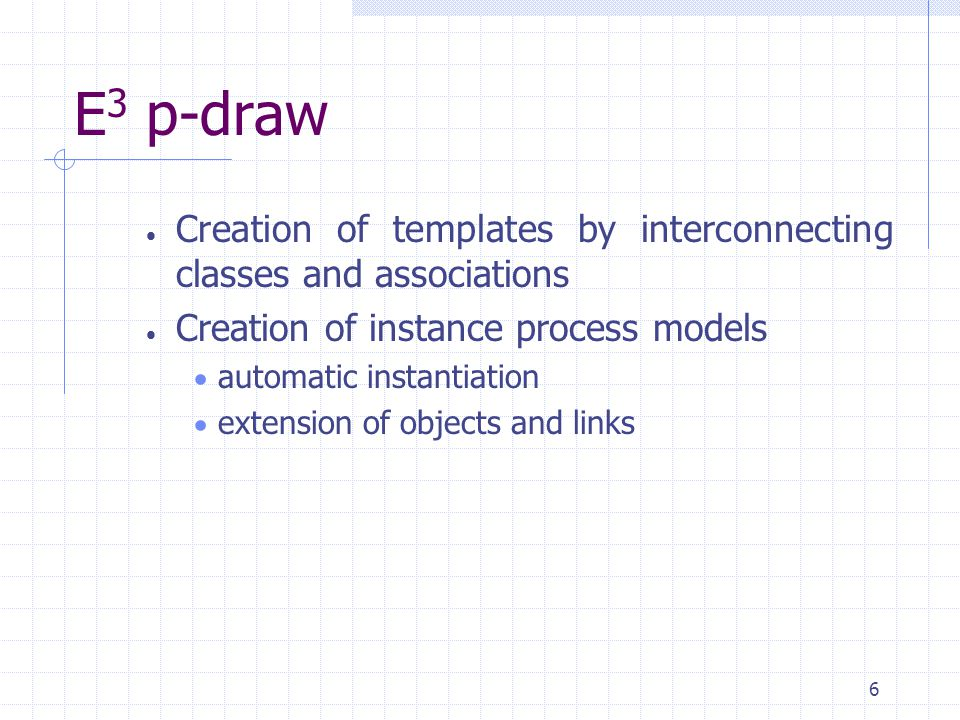 6 E 3 p-draw  Creation of templates by interconnecting classes and associations  Creation of instance process models  automatic instantiation  extension of objects and links