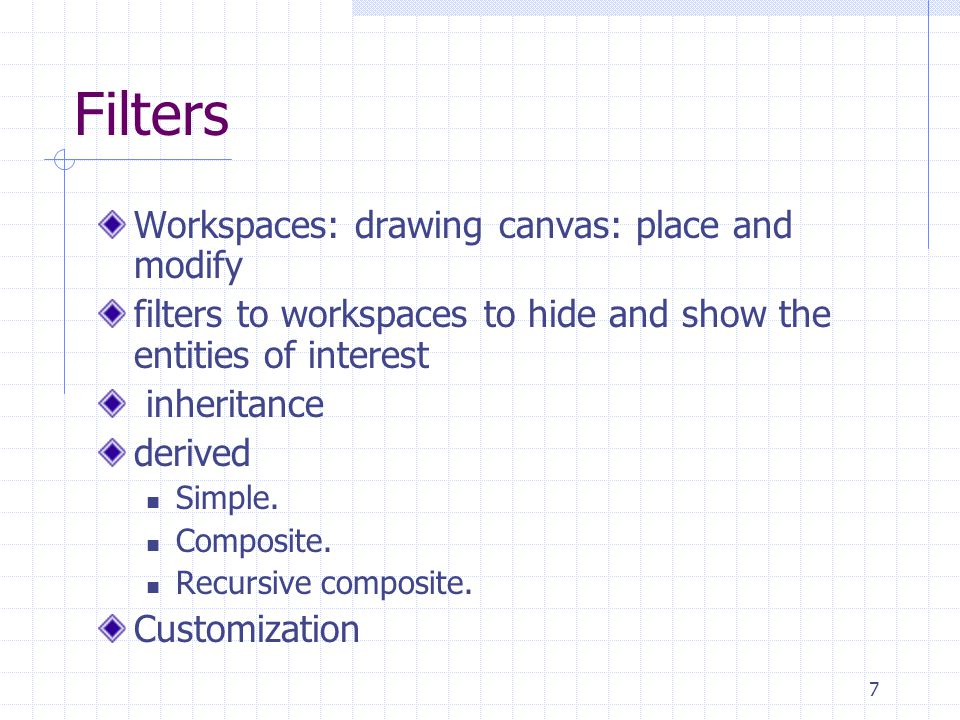 7 Filters Workspaces: drawing canvas: place and modify filters to workspaces to hide and show the entities of interest inheritance derived Simple.