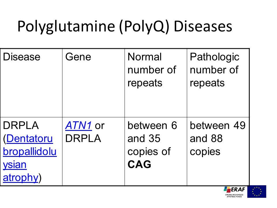 Polyglutamine (PolyQ) Diseases DiseaseGeneNormal number of repeats Pathologic number of repeats DRPLA (Dentatoru bropallidolu ysian atrophy)Dentatoru bropallidolu ysian atrophy ATN1ATN1 or DRPLA between 6 and 35 copies of CAG between 49 and 88 copies