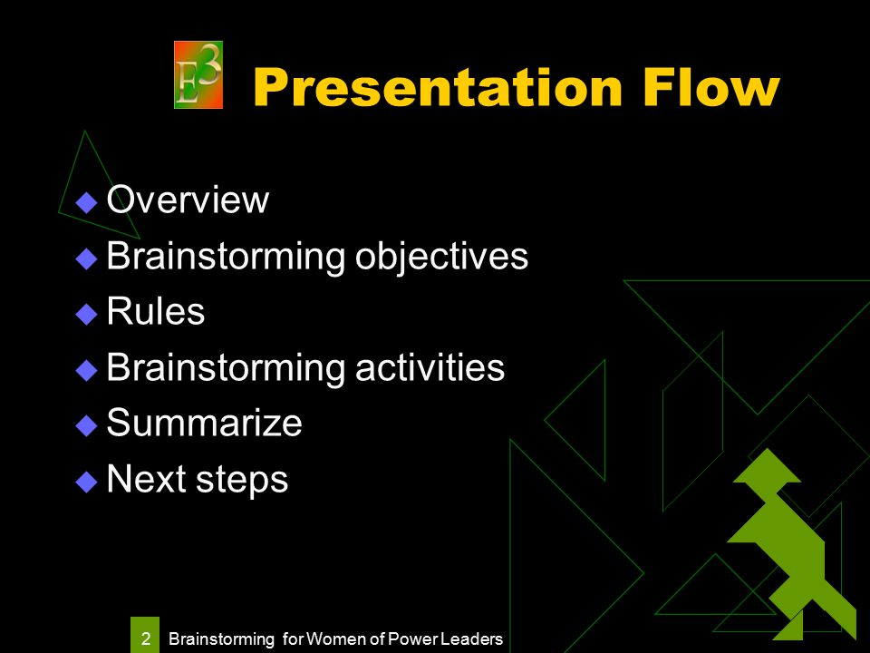 Brainstorming for Women of Power Leaders 2 Presentation Flow  Overview  Brainstorming objectives  Rules  Brainstorming activities  Summarize  Next steps