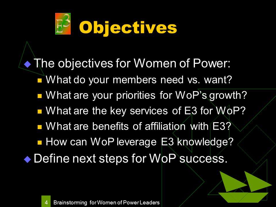 Brainstorming for Women of Power Leaders 4 Objectives  The objectives for Women of Power: What do your members need vs.