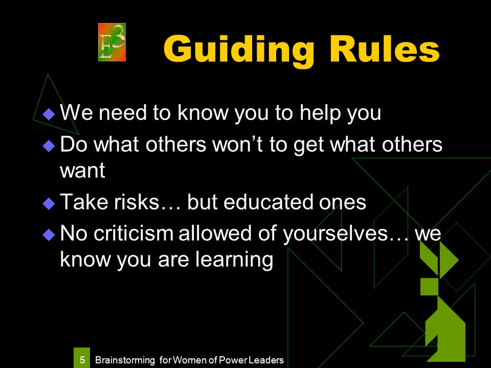 Brainstorming for Women of Power Leaders 5 Guiding Rules  We need to know you to help you  Do what others won't to get what others want  Take risks… but educated ones  No criticism allowed of yourselves… we know you are learning