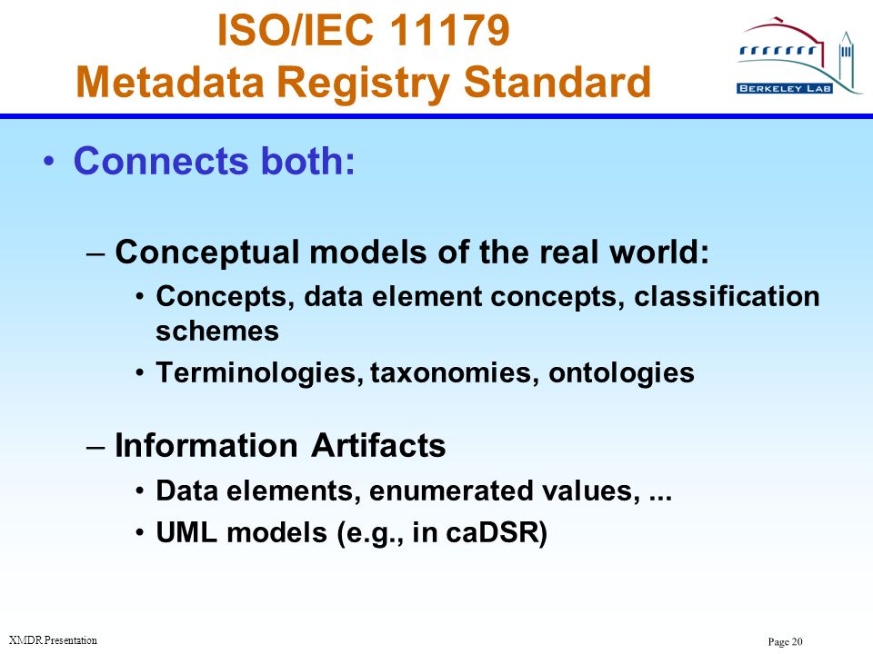 Page 20 XMDR Presentation ISO/IEC 11179 Metadata Registry Standard Connects both: –Conceptual models of the real world: Concepts, data element concept