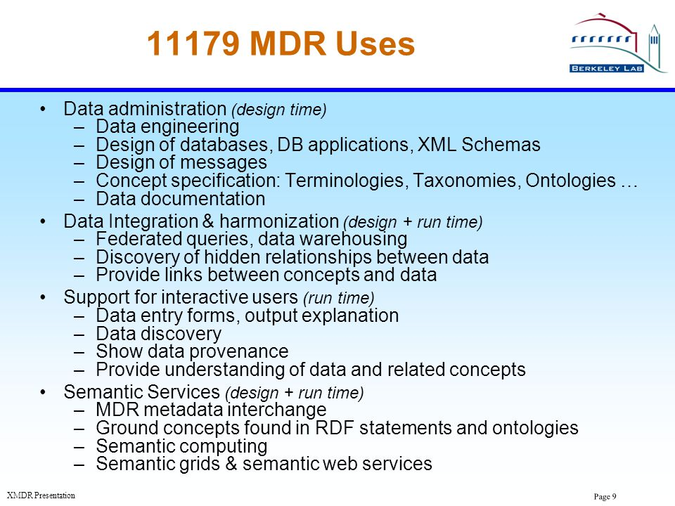 Page 20 XMDR Presentation ISO/IEC 11179 Metadata Registry Standard Connects both: –Conceptual models of the real world: Concepts, data element concepts, classification schemes Terminologies, taxonomies, ontologies –Information Artifacts Data elements, enumerated values,...