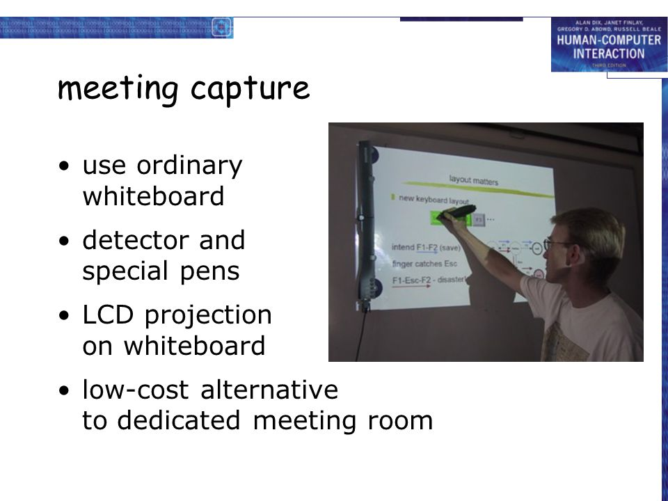 meeting capture use ordinary whiteboard detector and special pens LCD projection on whiteboard low-cost alternative to dedicated meeting room