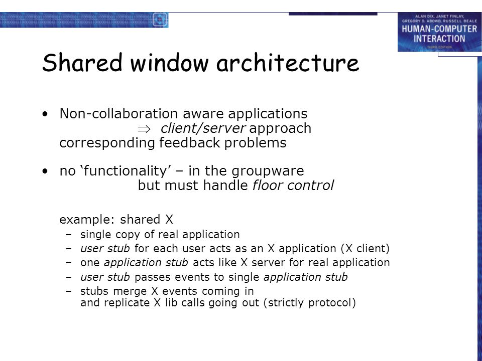 Shared window architecture Non-collaboration aware applications  client/server approach corresponding feedback problems no 'functionality' – in the g