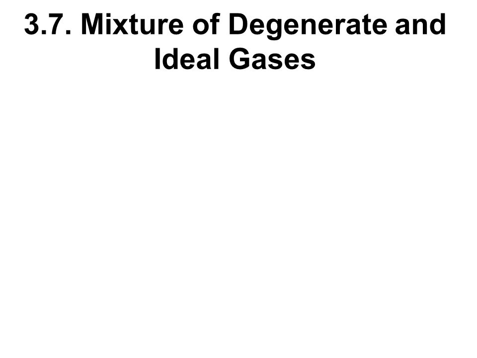 3.7. Mixture of Degenerate and Ideal Gases