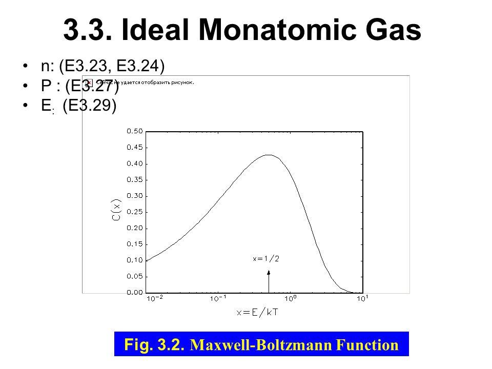 3.3. Ideal Monatomic Gas n: (E3.23, E3.24) P : (E3.27) E : (E3.29) Fig.