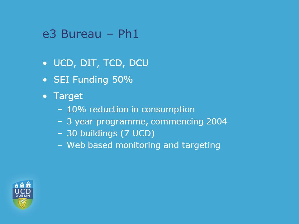 e3 Bureau – Ph1 UCD, DIT, TCD, DCU SEI Funding 50% Target –10% reduction in consumption –3 year programme, commencing 2004 –30 buildings (7 UCD) –Web based monitoring and targeting