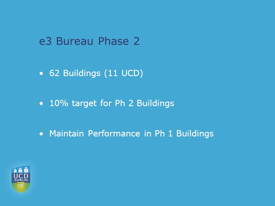 e3 Bureau Phase 2 62 Buildings (11 UCD) 10% target for Ph 2 Buildings Maintain Performance in Ph 1 Buildings