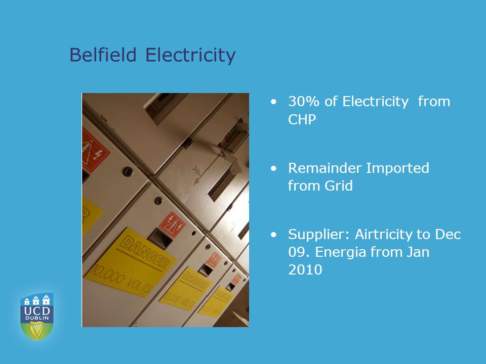 Belfield Electricity 30% of Electricity from CHP Remainder Imported from Grid Supplier: Airtricity to Dec 09.