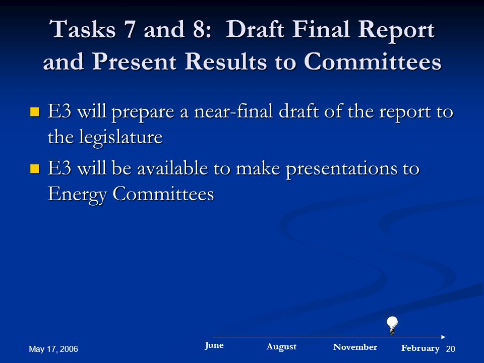 May 17, 2006 20 Tasks 7 and 8: Draft Final Report and Present Results to Committees E3 will prepare a near-final draft of the report to the legislature E3 will prepare a near-final draft of the report to the legislature E3 will be available to make presentations to Energy Committees E3 will be available to make presentations to Energy Committees June August November February