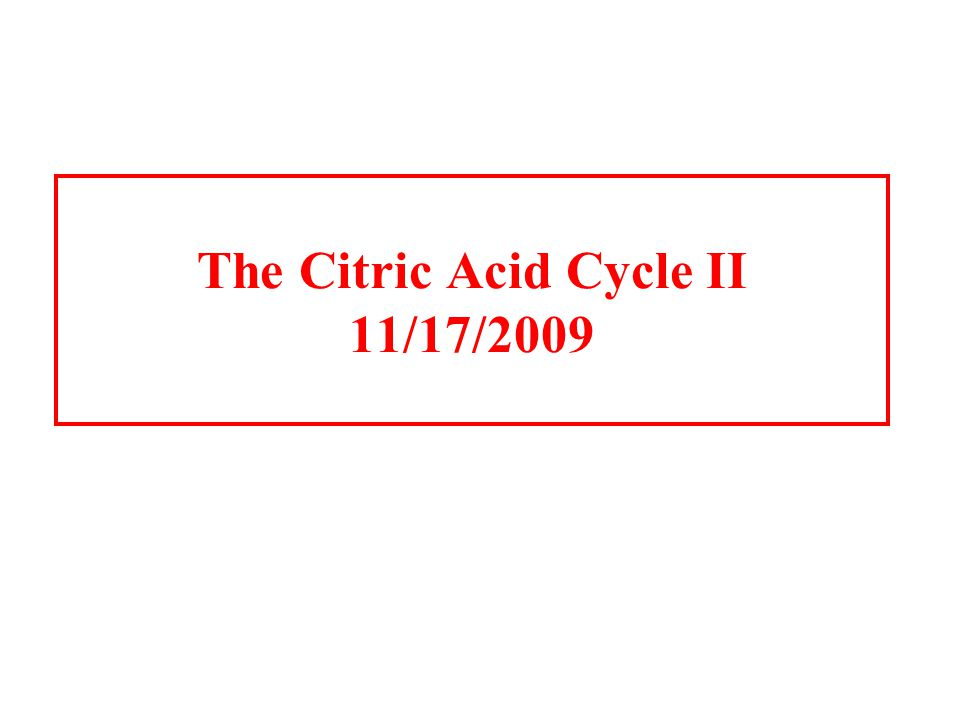 The Citric Acid Cycle II 11/17/2009