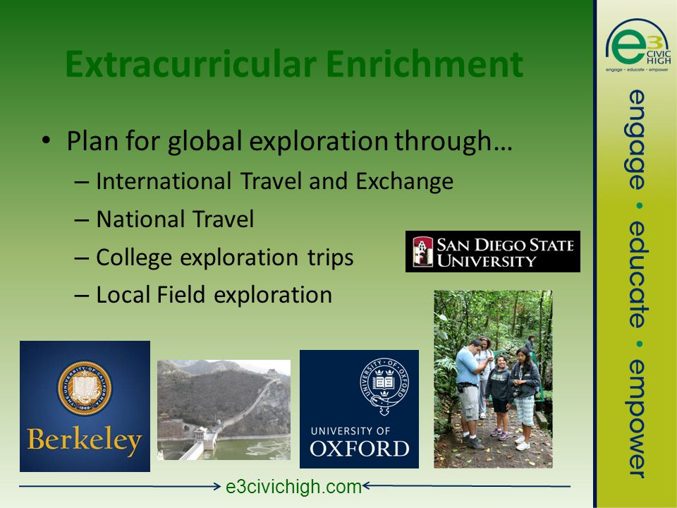 e3civichigh.com Extracurricular Enrichment Plan for global exploration through… – International Travel and Exchange – National Travel – College exploration trips – Local Field exploration