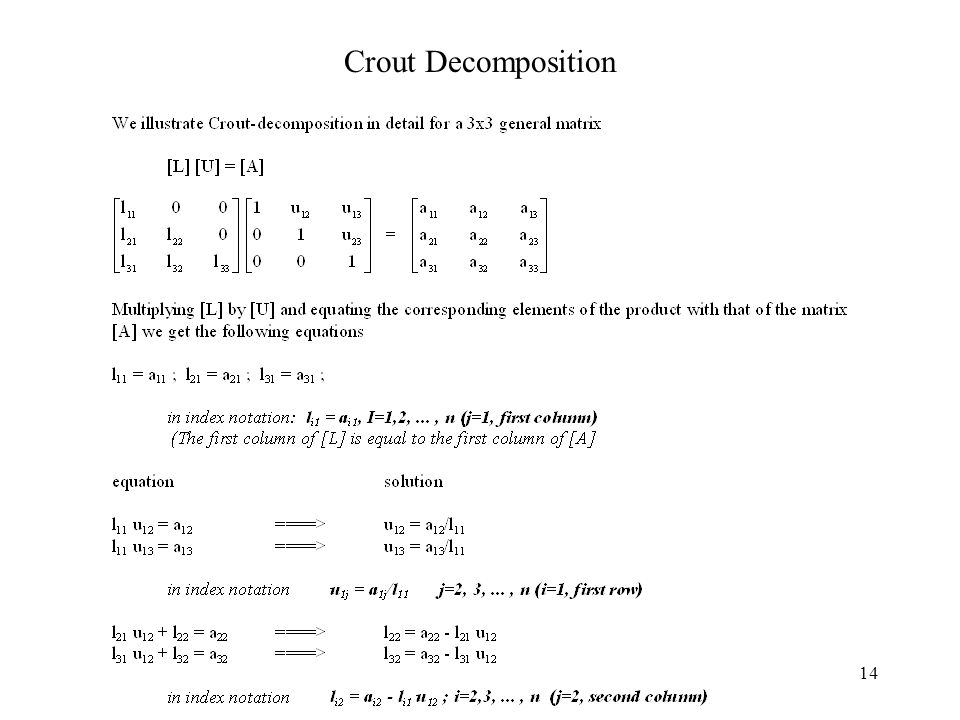 14 Crout Decomposition