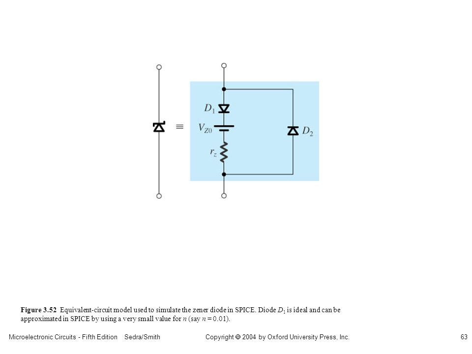 Copyright  2004 by Oxford University Press, Inc. Microelectronic Circuits - Fifth Edition Sedra/Smith63 Figure 3.52 Equivalent-circuit model used to