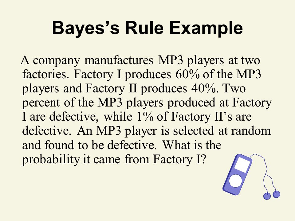 Bayes's Rule Example A company manufactures MP3 players at two factories. Factory I produces 60% of the MP3 players and Factory II produces 40%. Two p