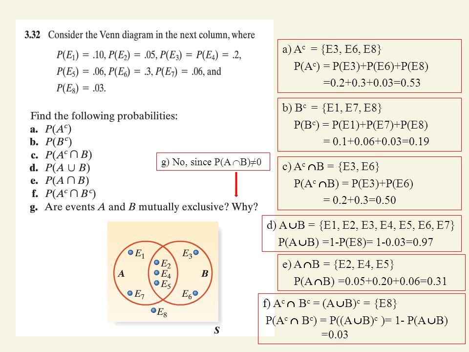 a) A c = {E3, E6, E8} P(A c ) = P(E3)+P(E6)+P(E8) =0.2+0.3+0.03=0.53 b) B c = {E1, E7, E8} P(B c ) = P(E1)+P(E7)+P(E8) = 0.1+0.06+0.03=0.19 c) A c  B = {E3, E6} P(A c  B) = P(E3)+P(E6) = 0.2+0.3=0.50 d) A  B = {E1, E2, E3, E4, E5, E6, E7} P(A  B) =1-P(E8)= 1-0.03=0.97 e) A  B = {E2, E4, E5} P(A  B) =0.05+0.20+0.06=0.31 f) A c  B c = (A  B) c = {E8} P(A c  B c ) = P((A  B) c )= 1- P(A  B) =0.03 g) No, since P(A  B)≠0