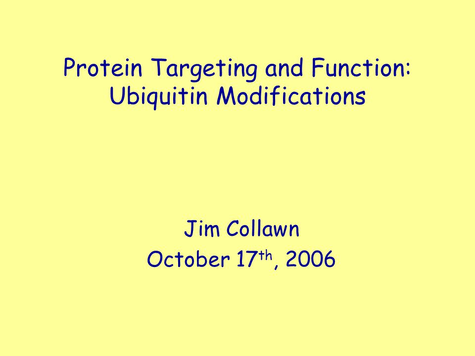 Protein Targeting and Function: Ubiquitin Modifications Jim Collawn October 17 th, 2006