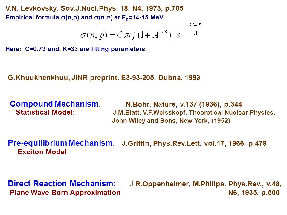 Statistical Model: J.M.Blatt, V.F.Weisskopf, Theoretical Nuclear Physics, John Wiley and Sons, New York, (1952) Compound Mechanism : N.Bohr, Nature, v.137 (1936), p.344 Pre-equilibrium Mechanism : J.Griffin, Phys.Rev.Lett.