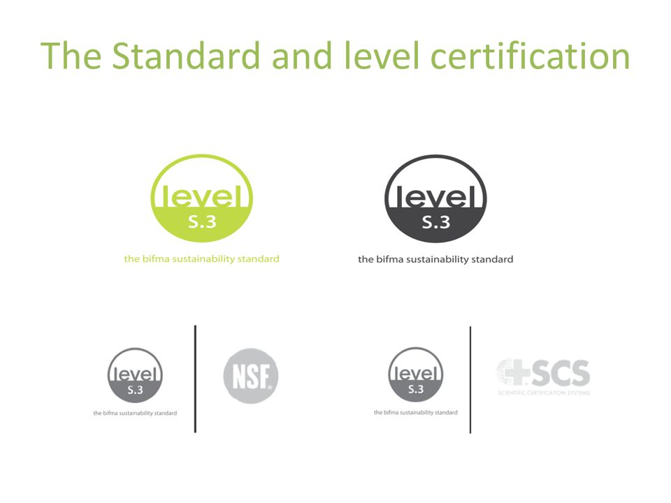 The Standard and level certification