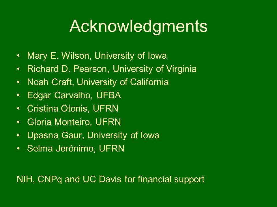 Acknowledgments Mary E. Wilson, University of Iowa Richard D. Pearson, University of Virginia Noah Craft, University of California Edgar Carvalho, UFB