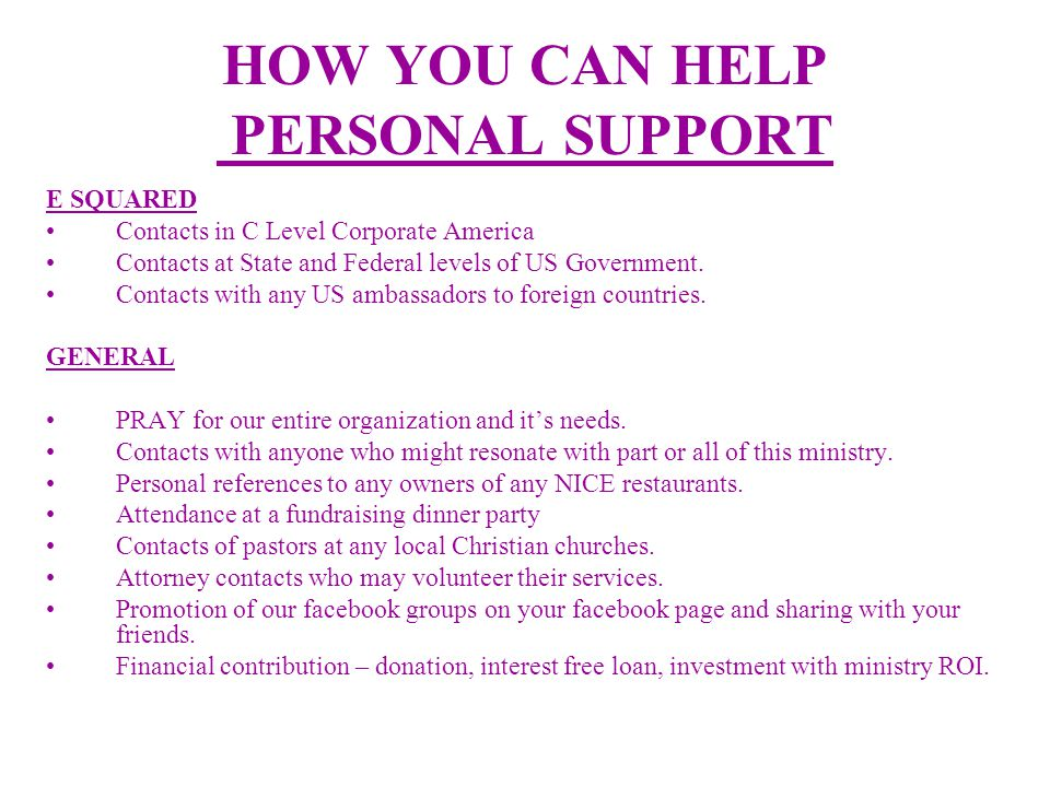 HOW YOU CAN HELP PERSONAL SUPPORT E SQUARED Contacts in C Level Corporate America Contacts at State and Federal levels of US Government.