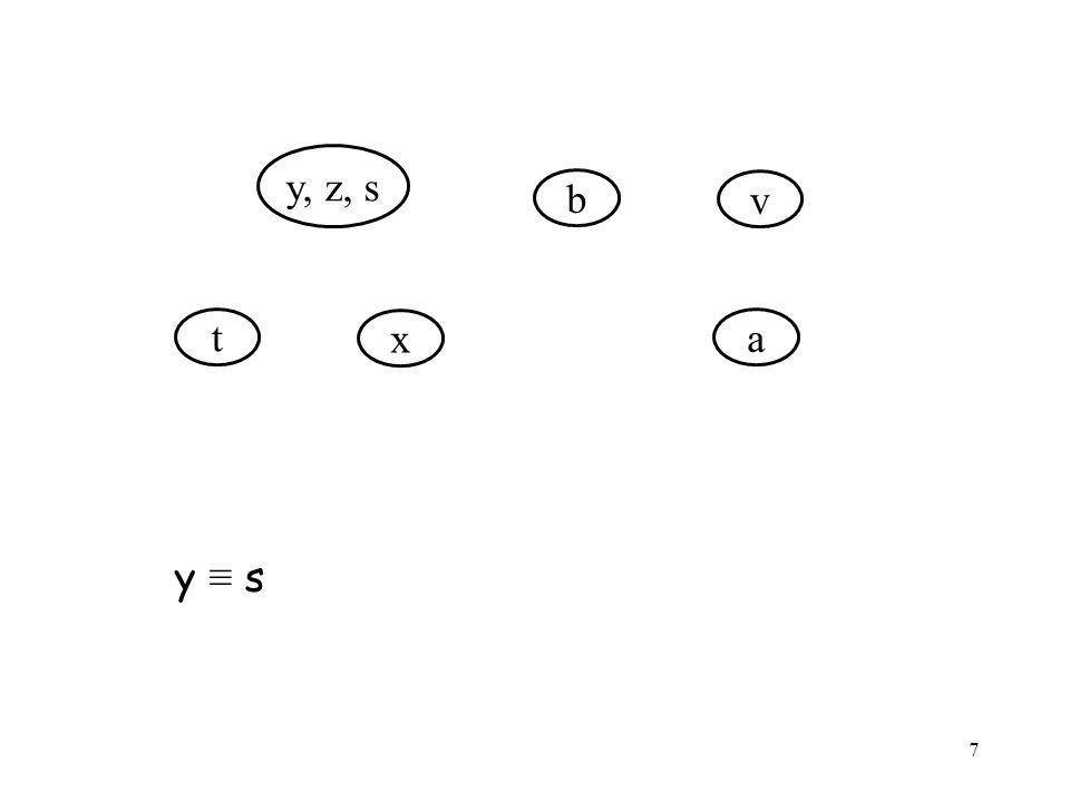 7 y, z, s t x b v a y ≡ s