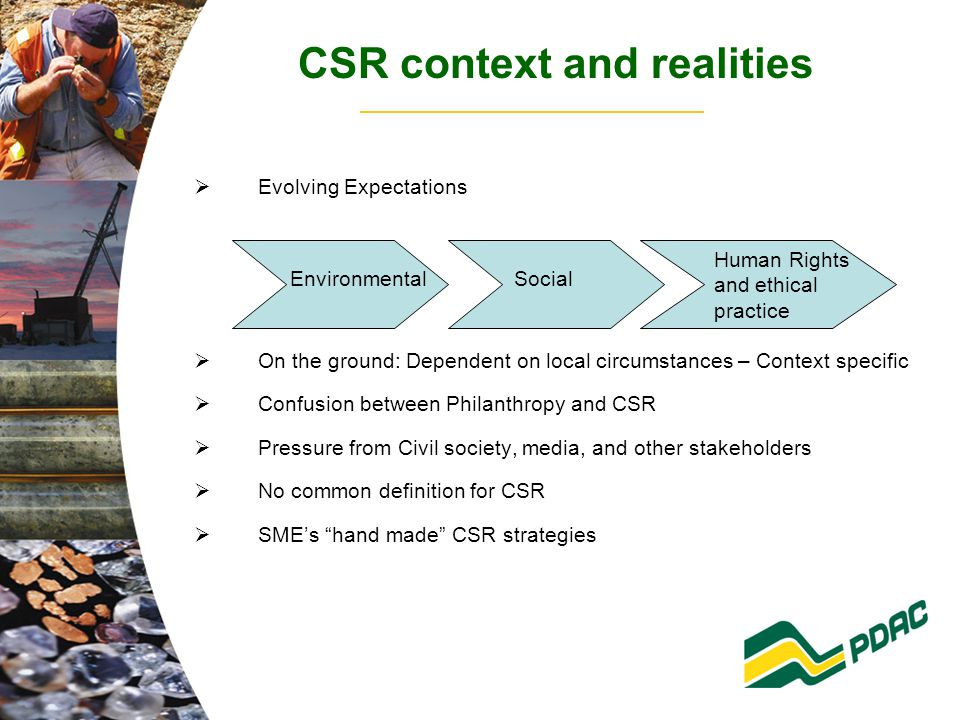 CSR context and realities  Evolving Expectations  On the ground: Dependent on local circumstances – Context specific  Confusion between Philanthropy and CSR  Pressure from Civil society, media, and other stakeholders  No common definition for CSR  SME's hand made CSR strategies EnvironmentalSocial Human Rights and ethical practice